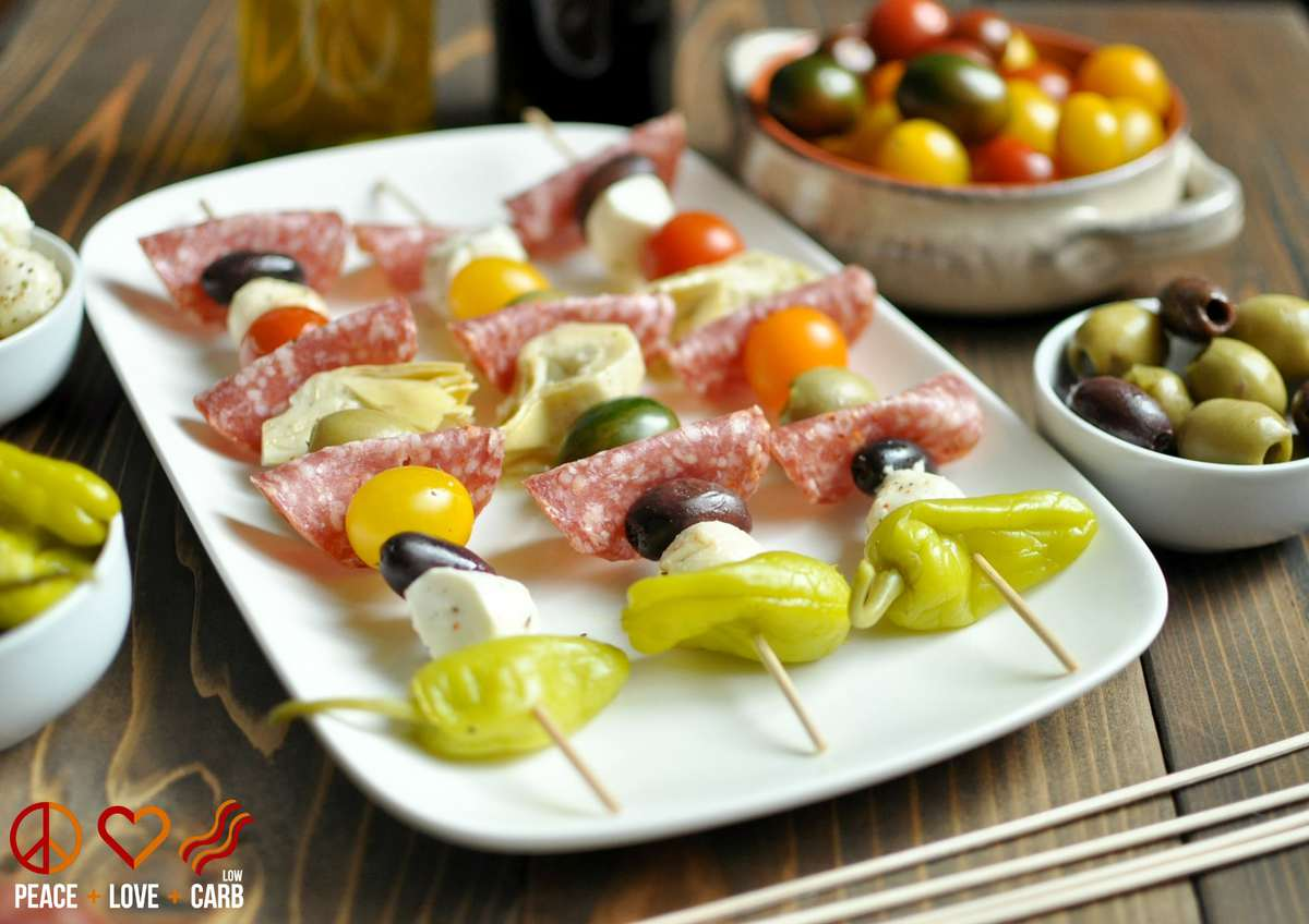antipasto kebabs low carb gluten free peace love and low carb. Black Bedroom Furniture Sets. Home Design Ideas