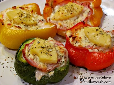 Hawaiian Pizza Stuffed Peppers - 50 Low Carb Stuffed Peppers Recipes Round Up | Peace Love and Low Carb