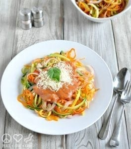 Rainbow Vegetable Noodles with Tomato Cream Sauce - Reviewed by Grass Fed Girl
