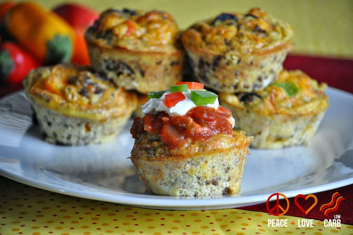 Keto Taco Tuesday Recipes- Taco Egg Muffins - Grab and Go Egg Muffin Breakfast Round Up | Peace Love and Low Carb