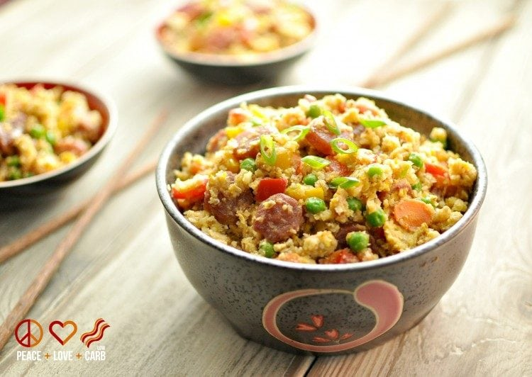Chinese Sausage Fried Rice - 20 Low Carb and Gluten Free Cauliflower Rice Recipes | Peace Love and Low Carb