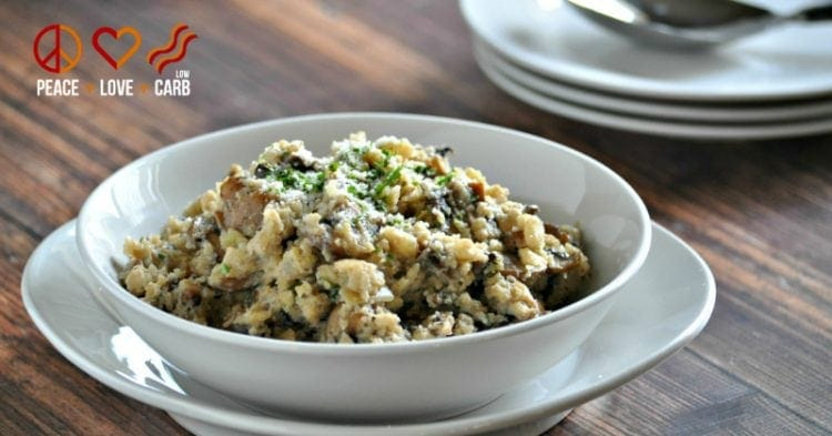 Mushroom with Risotto with Cauliflower Rice - 20 Low Carb and Gluten Free Cauliflower Rice Recipes | Peace Love and Low Carb