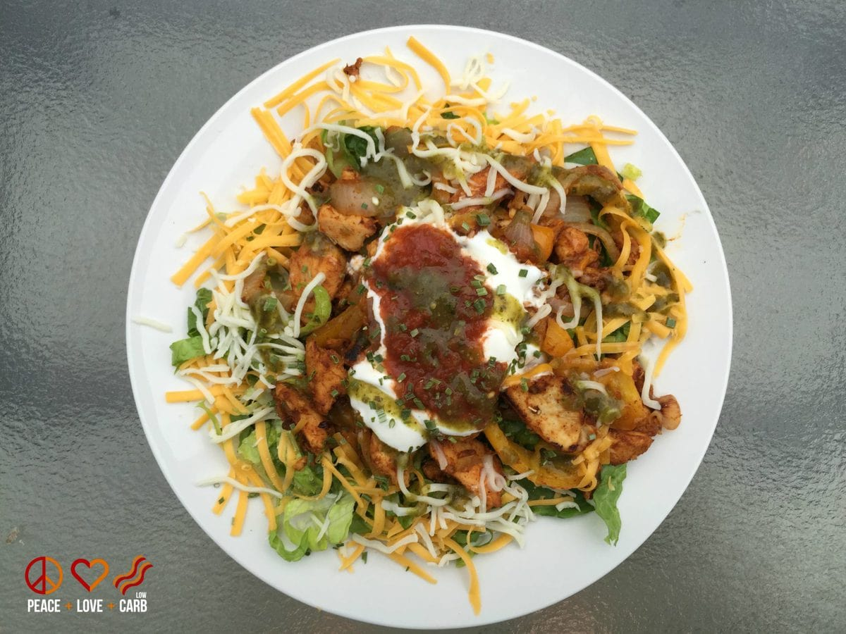 Chicken Fajita Salad - Low Carb Gluten Free | Peace Love and Low Carb