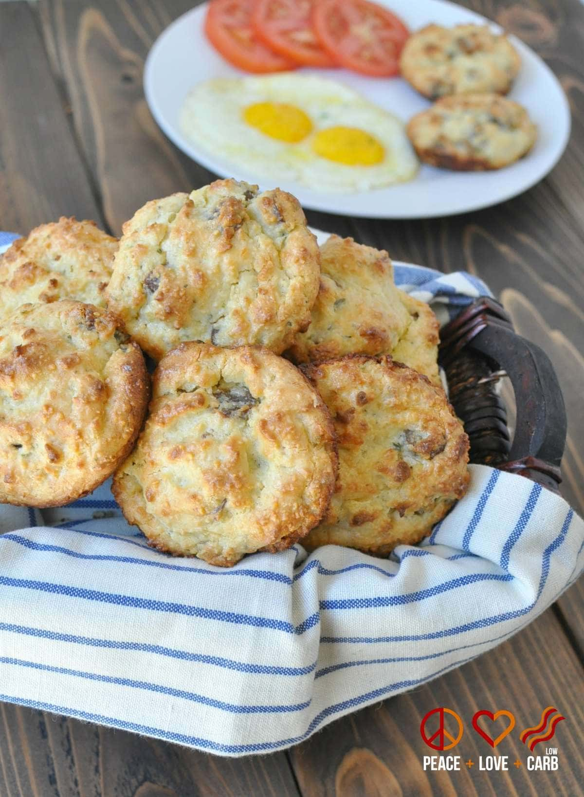 White Cheddar Sausage Breakfast Biscuits | Peace Love and Low Carb