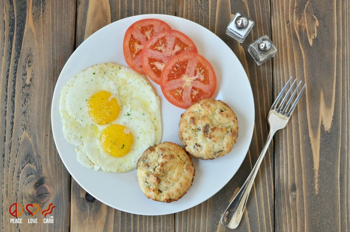 White Cheddar Sausage Breakfast Biscuits - Low Carb, Gluten Free | Peace Love and Low Carb