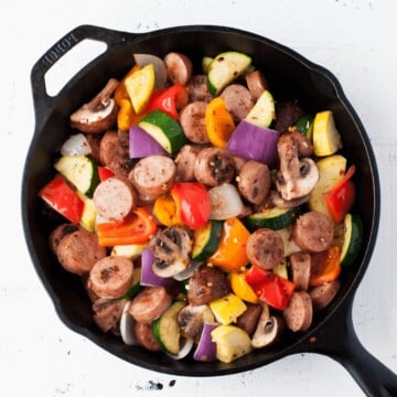 Low Carb Chicken Sausage and Vegetable Skillet | Peace Love and Low Carb