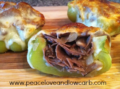 Philly Cheesesteak Stuffed Peppers | Peace Love and Low Carb
