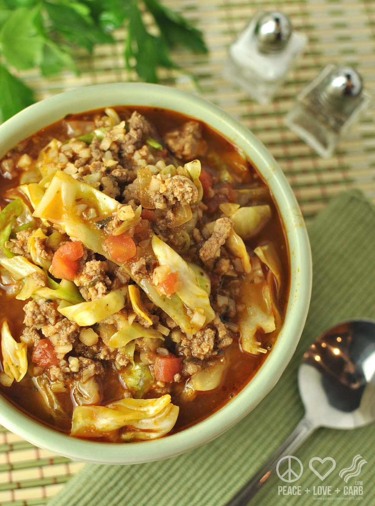 Keto Cabbage Roll Soup | Peace Love and Low Carb