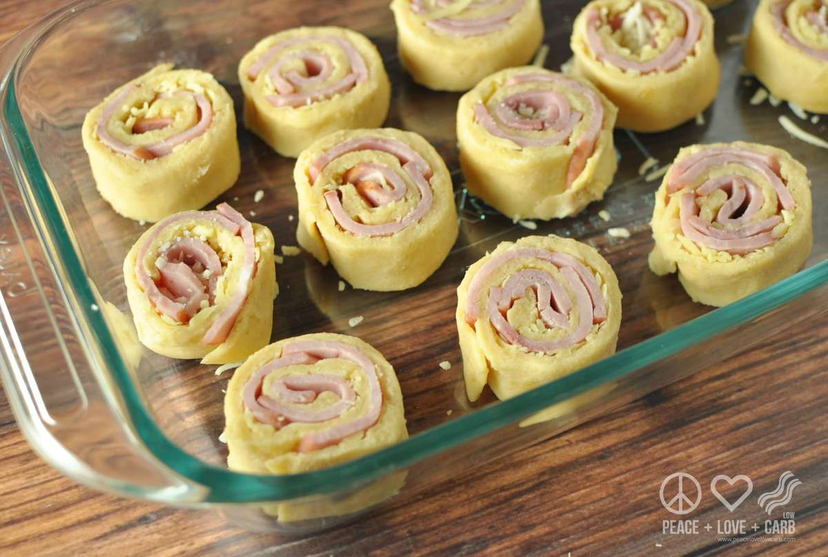 Hot Ham and Cheese Roll-Ups with Dijon Butter Glaze- Low Carb, Gluten Free
