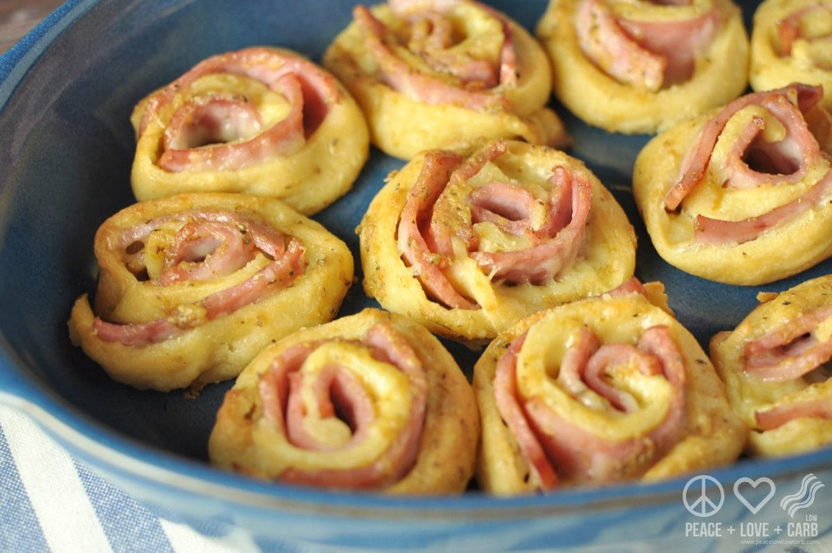 Hot Ham and Cheese Roll-Ups with Dijon Butter Glaze - Low Carb, Gluten Free | Peace Love and Low Carb