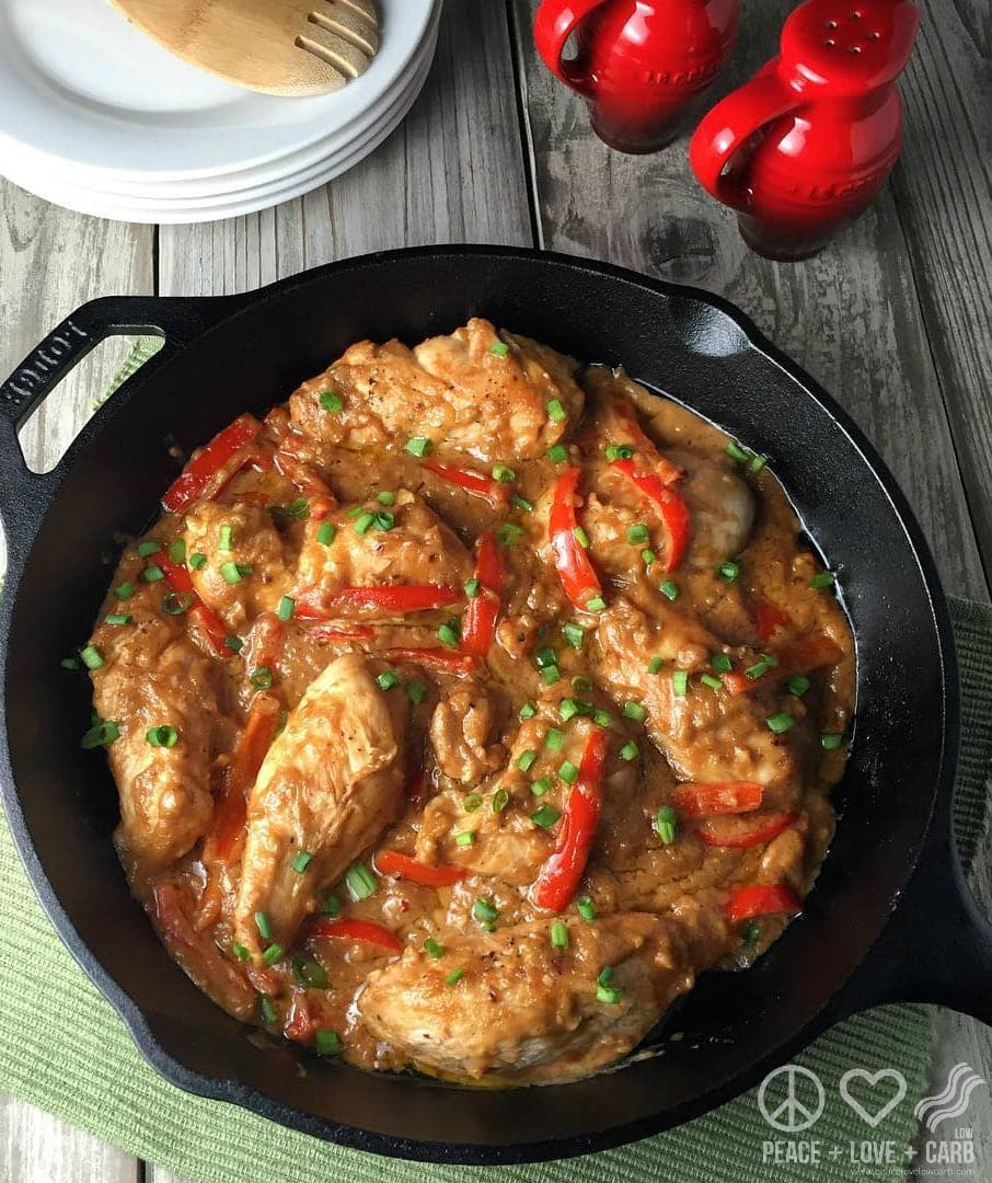 Low Carb Peanut Chicken Skillet | Peace Love and Low Carb