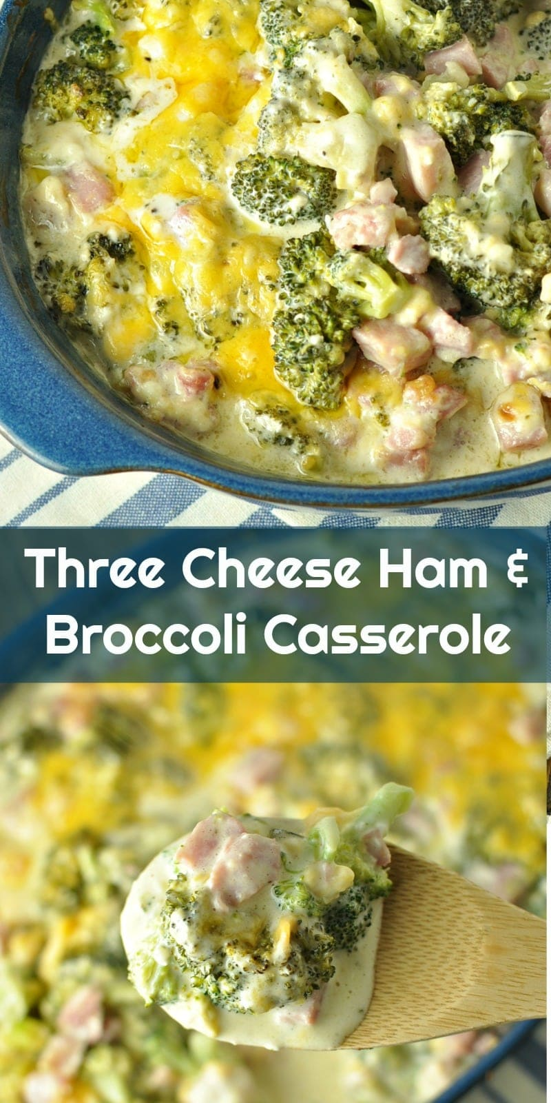 Low Carb Three Cheese Ham and Broccoli Casserole