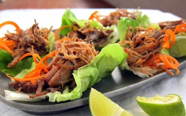 Pulled Pork Carnitas Lettuce Wraps - Low Carb Pressure Cooker Round Up | Peace Love and Low Carb