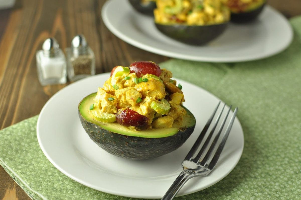 Curried Chicken Salad Stuffed Avocados - Paleo, Low Carb | Peace Love and Low Carb