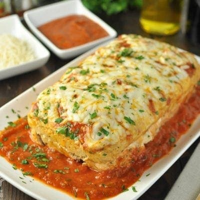 Stuffed Chicken Parmesan Meatloaf - Low Carb, Gluten Free | Peace Love and Low Carb