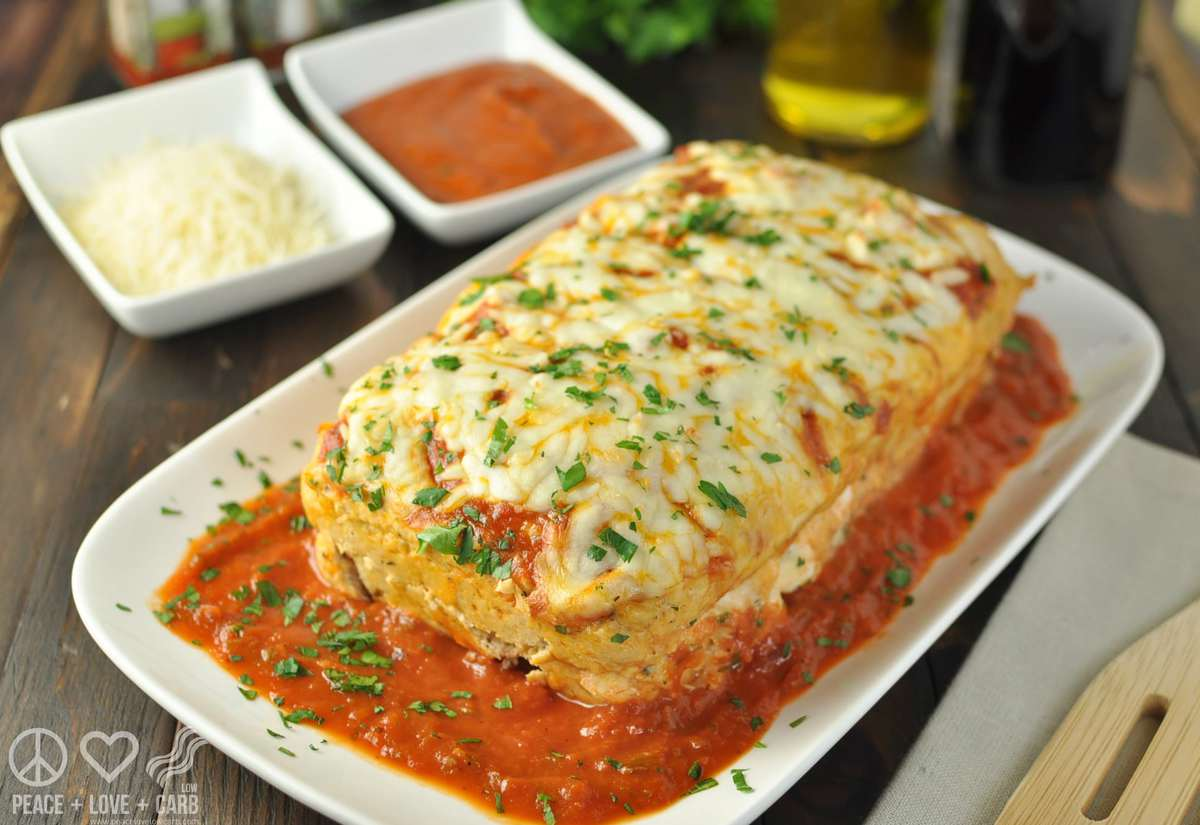 Stuffed Chicken Parmesan Keto Meatloaf - Low Carb, Gluten Free | Peace Love and Low Carb