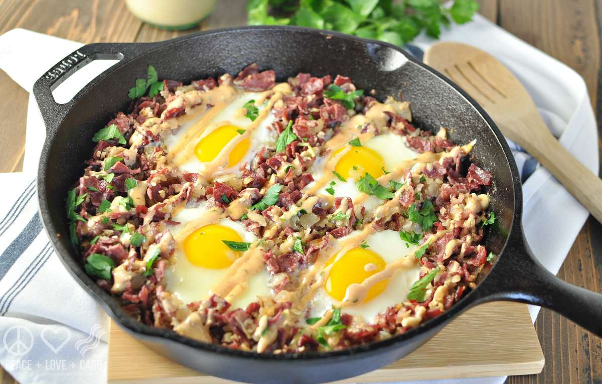 Corned Beef Hash Breakfast Skillet - Paleo, Low Carb, Gluten Free | Peace Love and Low Carb
