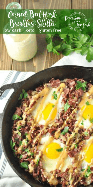 This Corned Beef Hash Breakfast Skillet is the perfect way to start to every day. A balanced breakfast of corned beef, cauliflower hash, and pastured eggs, all perfectly seasoned.