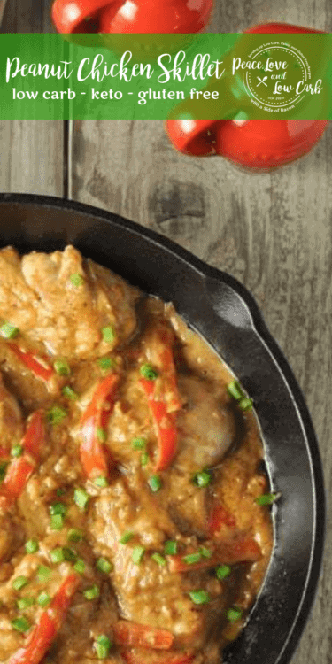 ThisLow Carb Peanut Chicken Skillet is loaded with asian inspired flavors, without all the preservatives and junk you'd find in traditional takeout food. Savory, lightly spicy, and so delicious.
