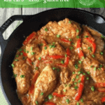 This Low Carb Peanut Chicken Skillet is loaded with asian inspired flavors, without all the preservatives and junk you'd find in traditional takeout food. Savory, lightly spicy, and so delicious.