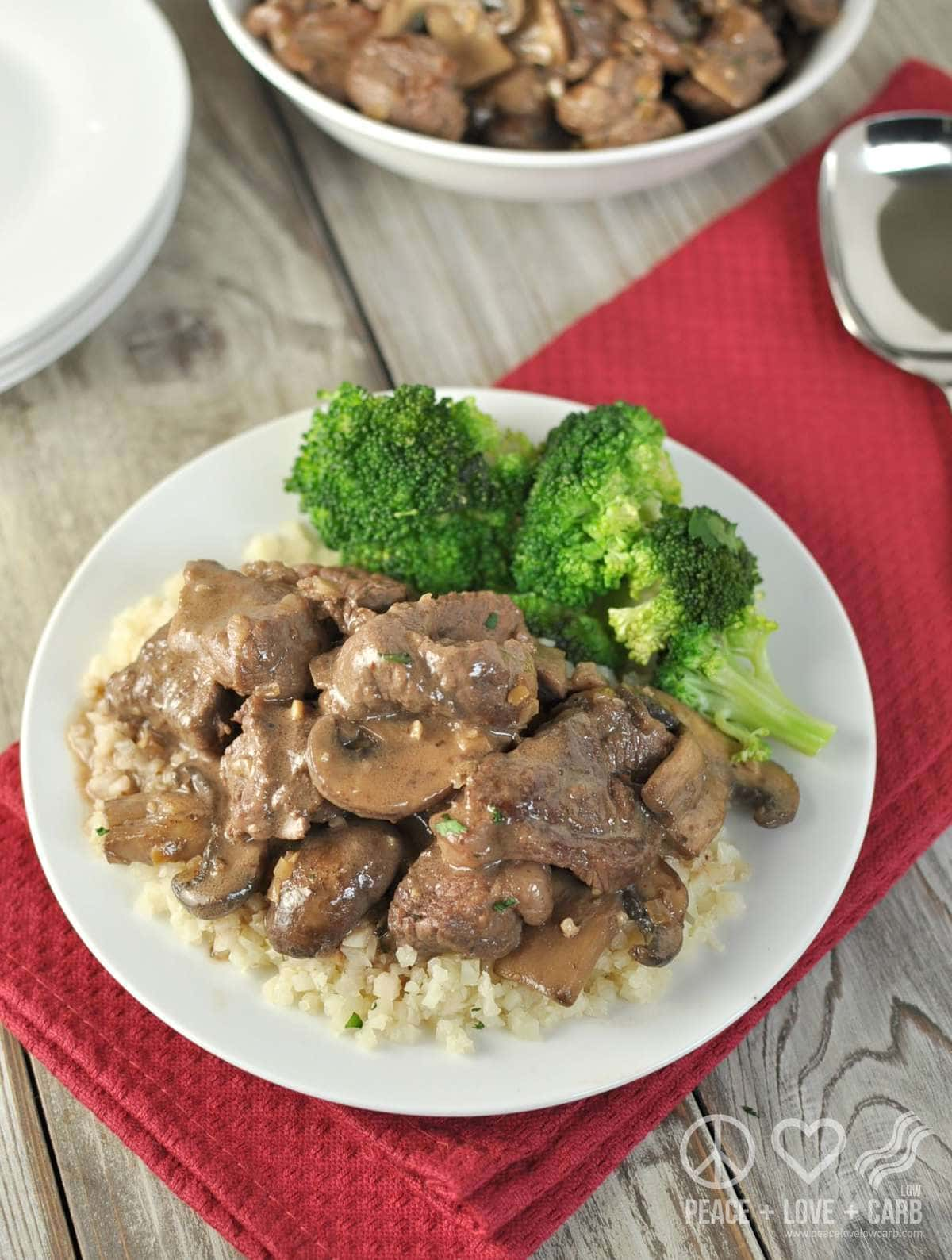Low Carb Beef Tips in Mushroom Brown Gravy