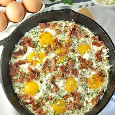 Creamy Herbed Bacon and Egg Skillet - Low Carb, Gluten Free | Peace Love and Low Carb