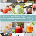 """Collage image with 12 different photos of low carb adult beverages, each in a square, with a light teal banner across the middle of the image. Script text across the banner reads """"20 Low Carb Adult Beverage Recipes"""" on one line, with a second line of bold caps text reading """"MOJITOS, MARTINIS, & MIXED DRINKS"""" and a third line of text, all lower case """"low carb - keto - gluten free."""" On the right side of the banner is the Peace Love and Low Carb Logo"""