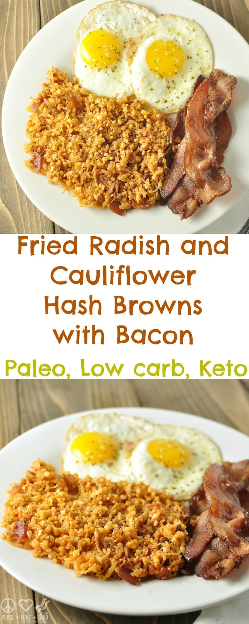 Fried Radish and Cauliflower Hash Browns with Bacon - Low Carb, Keto, Paleo