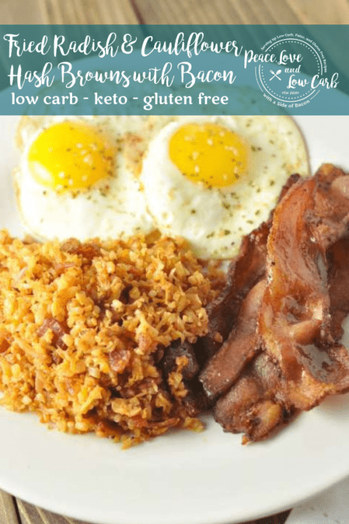 I bet you thought you would never find low carb hash browns. Think again. These Fried Radish and Cauliflower Hash Browns with Bacon will curb your breakfast potato cravings.