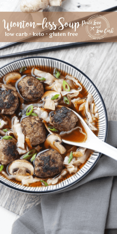 This keto wonton soup is so good that you won't even miss the wontons. Before you know it, you will only be craving this easy peasy wonton-less soup.
