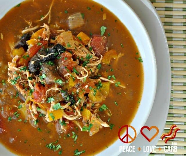 Keto Taco Tuesday Recipes - Chicken Fajita Soup | Peace Love and Low Carb