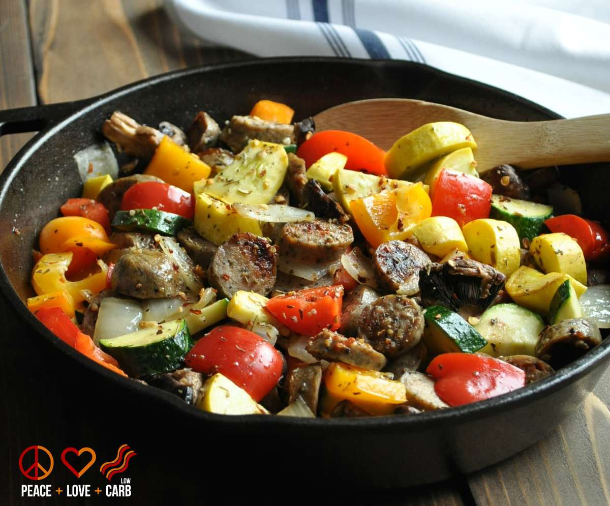 Chicken Sausage Vegetable Skillet | Peace Love and Low Carb