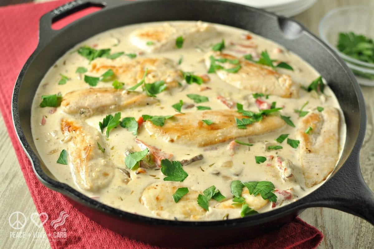Chicken and Mushrooms with Roasted Red Pepper Alfredo Sauce - Peace Love and Low Carb