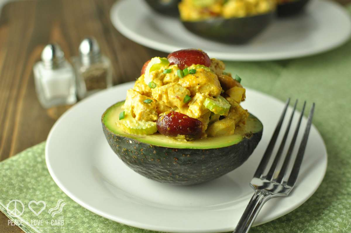 Curried Chicken Salad Stuffed Avocados | Peace Love and Low Carb