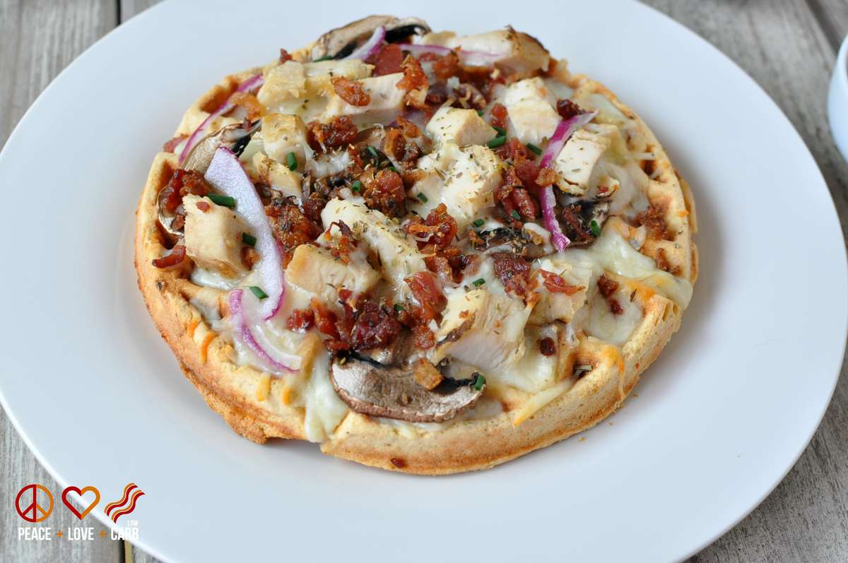 Garlic Chicken Alfredo Waffle Pizza | Peace Love and Low Carb