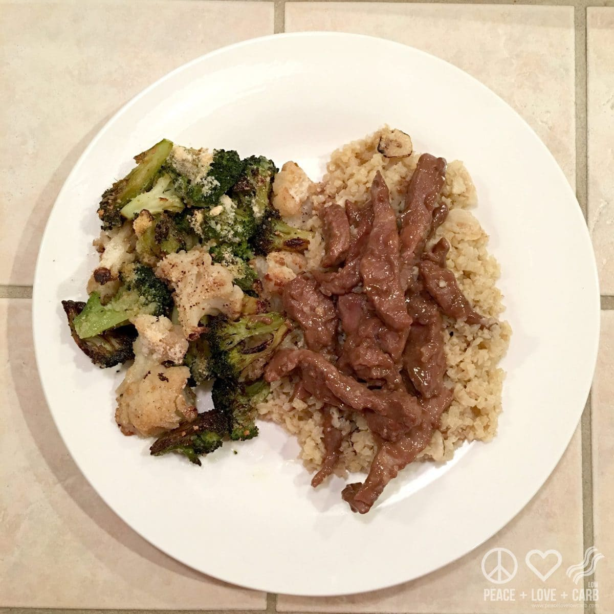 Beef in Gravy, Cumin Cauliflower Rice and Roasted Broccoli and Cauliflower | Peace Love and Low Carb