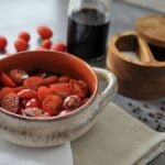 Balsamic Marinated Tomatoes, perfect for adding to salads, enjoying with mozzarella cheese and fresh basil, or on their own!