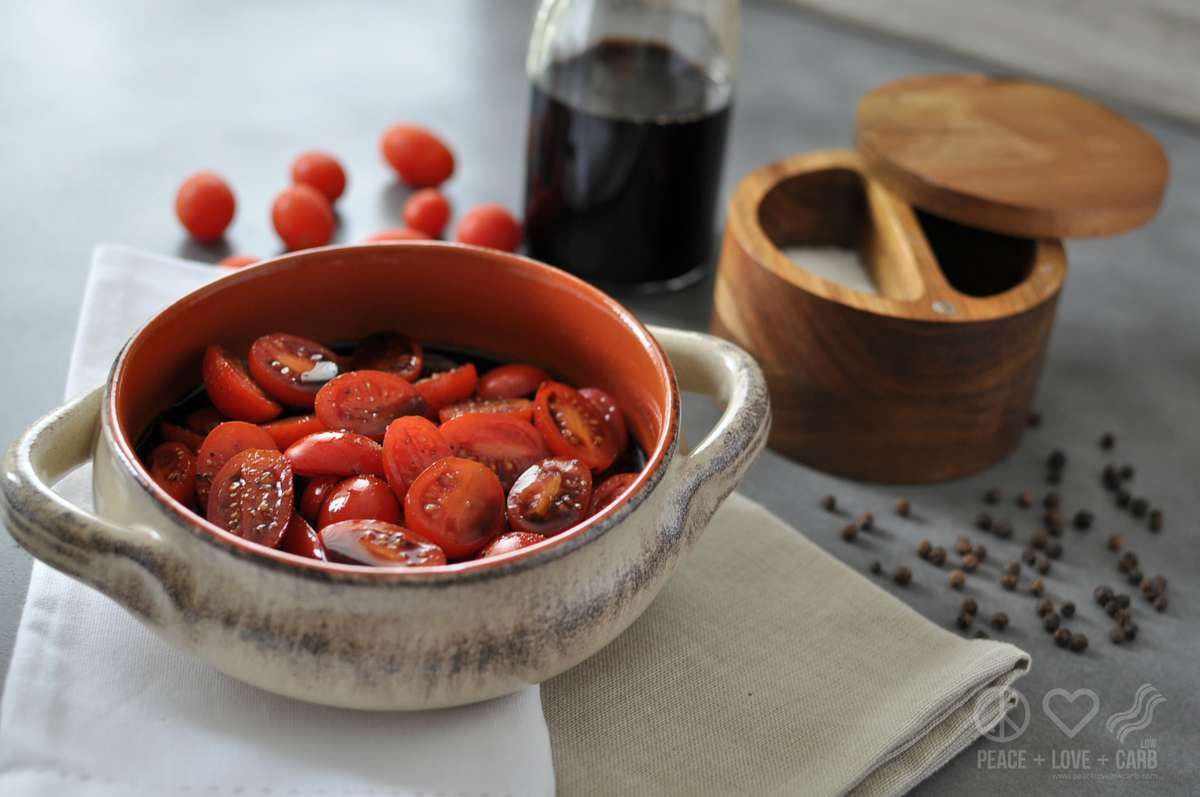 Balsamic Marinated Tomatoes - Low Carb, Paleo | Peace Love and Low Carb