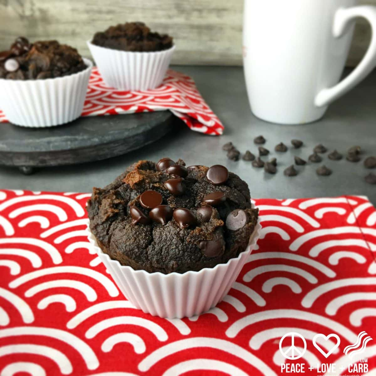 Double Chocolate Chip Pumpkin Spice Muffins | Peace Love and Low Carb