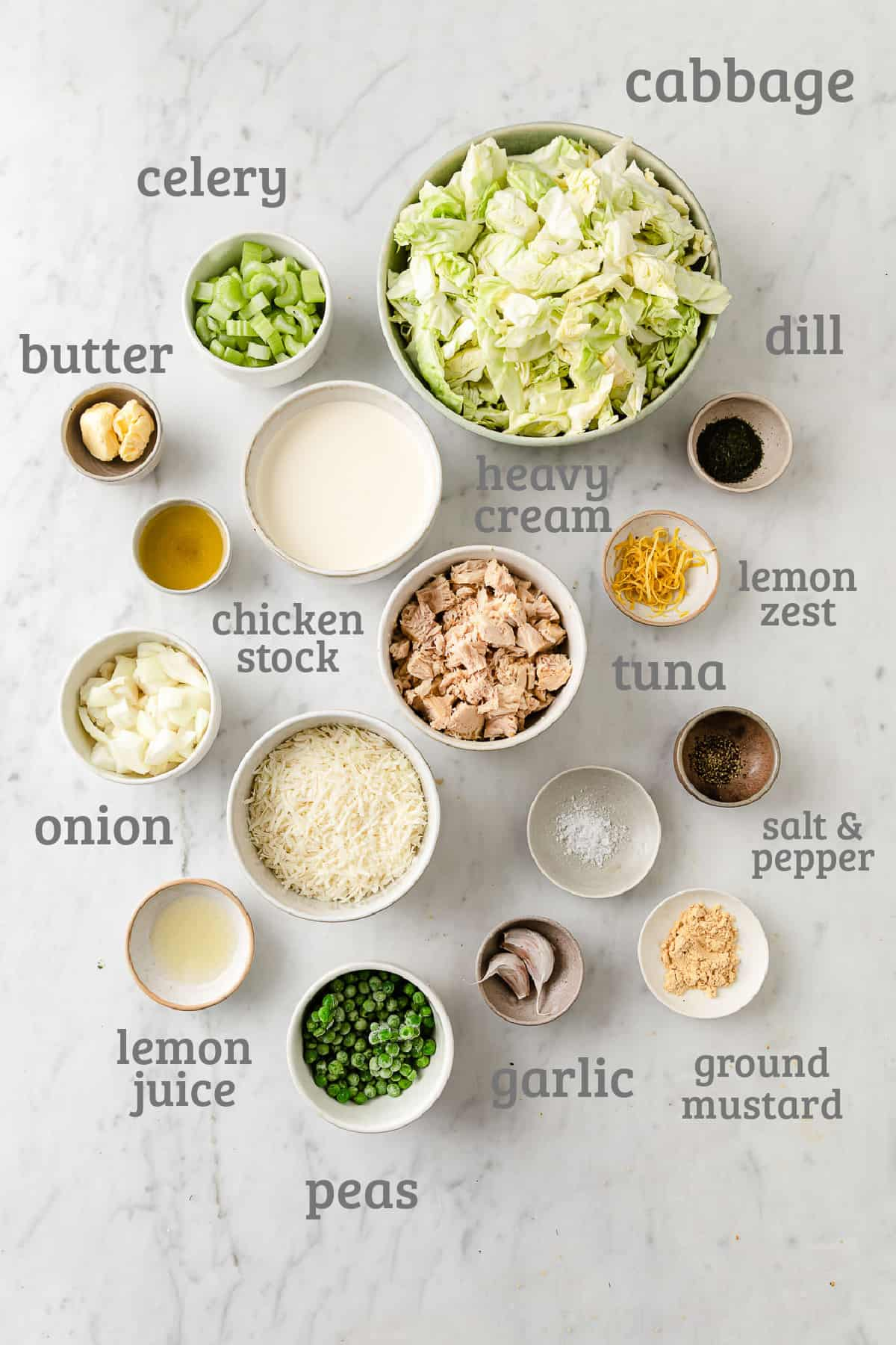 Ingredients for cabbage noodle tuna casserole - cabbage, tuna, lemon, garlic, cream, cheese, dill, celery