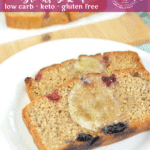 Peanut Butter and Jelly, remixed as a low carb breakfast loaf. The perfect slightly sweet keto breakfast on the go.
