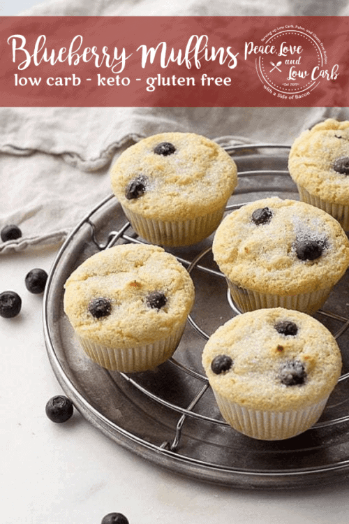 Keto, Low Carb Blueberry Muffins. Warm, delicious and comforting. Best of all, they are gluten free too. Enjoy an old classic without all the sugar.