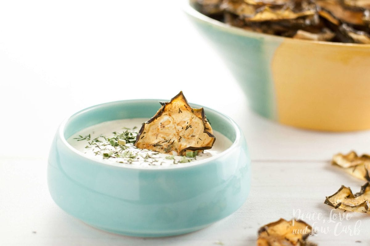 Garlic Dill Baked Cucumber Chips - Low Carb, Paleo | Peace Love and Low Carb