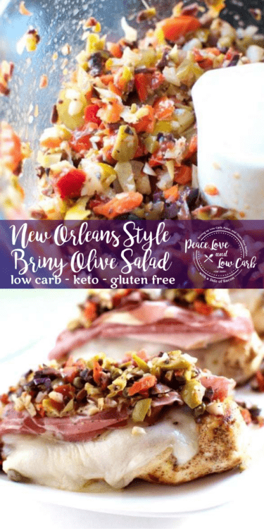 New Orleans Style Briny Olive Salad on top of my low carb and gluten free version of muffuletta. You can't go wrong with a pile of meats and cheeses, topped with a delicious olive salad.