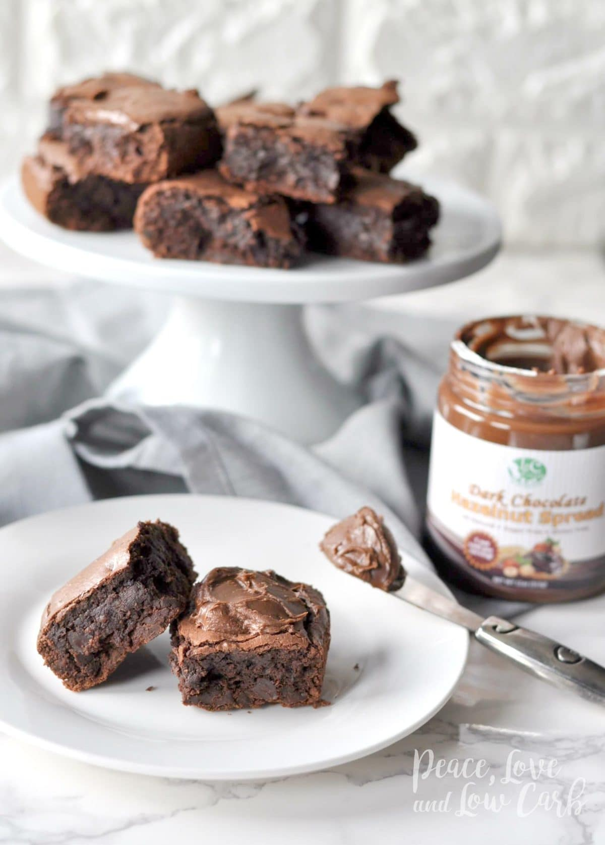 Low Carb Fudgy Double Chocolate Brownies with Chocolate Hazelnut Spread - Gluten Free