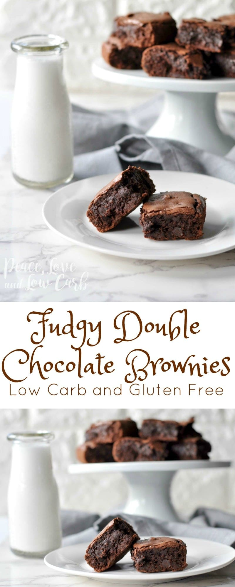 Fudgy Double Chocolate Keto Brownies | Peace Love and Low Carb