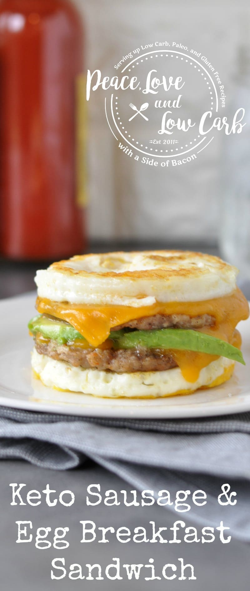 Keto Sausage and Egg Breakfast Sandwich | Peace Love and Low Carb