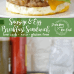Who needs fast food when you can make your own low carb and keto McMuffin Sausage and Egg Breakfast Sandwich right at home. You won't even miss the english muffin... It's that GOOD!