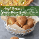Sausage and Vegetable Quiche, Low Carb Angel Biscuits, and keto condiments, excellent options for the next time you're craving keto comfort food.