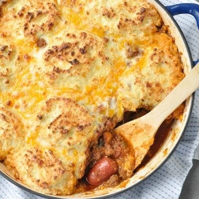 Keto Chili Dog Pot Pie Casserole